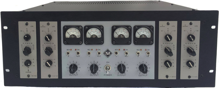 custom made rack made by sonicmessiah with Siemens V276 with curved glass VU meters, ramped 48V, polarity reverse and output control