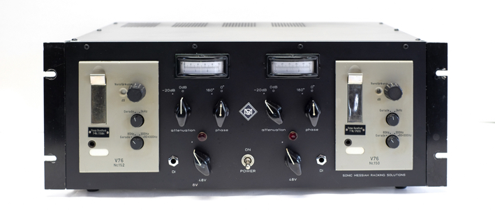 TAB V76 tube preamps in a custom made rack with VU meters, ramped phantom power , and DI inputs